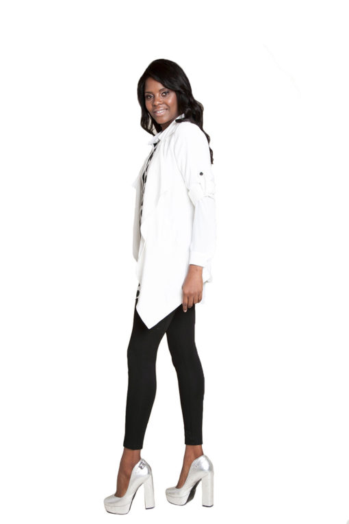 white lightweight jacket- side