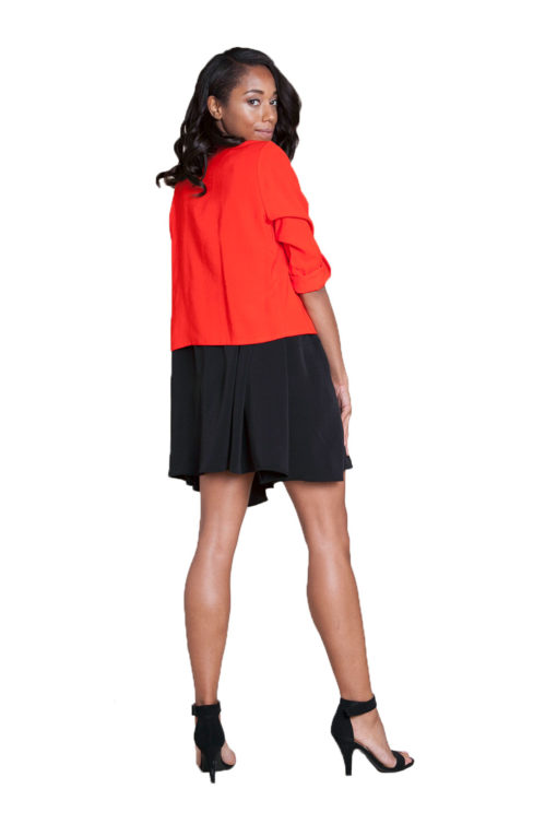 red cropped overlap jacket- back
