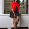 red cropped overlap jacket- front