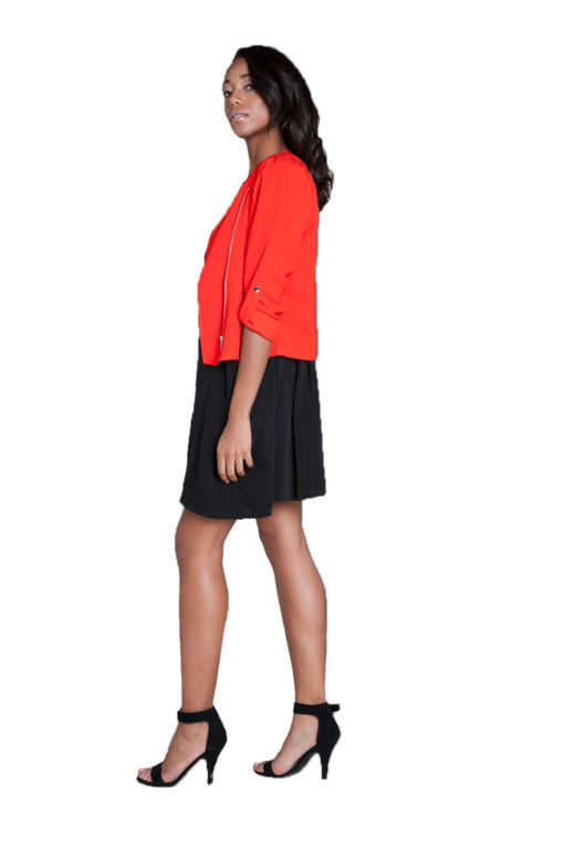 red cropped overlap jacket- side