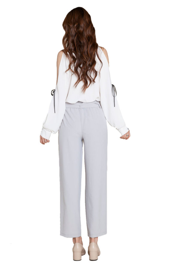 grey tie waist pants- back