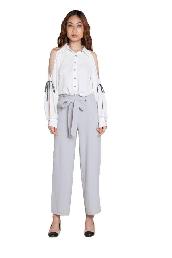 grey tie waist pants- front