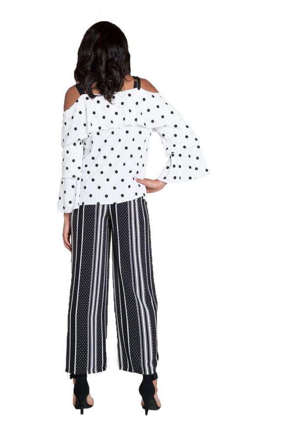 black printed wide leg pants- back