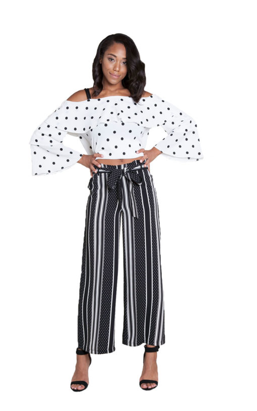 black printed wide leg pants- front