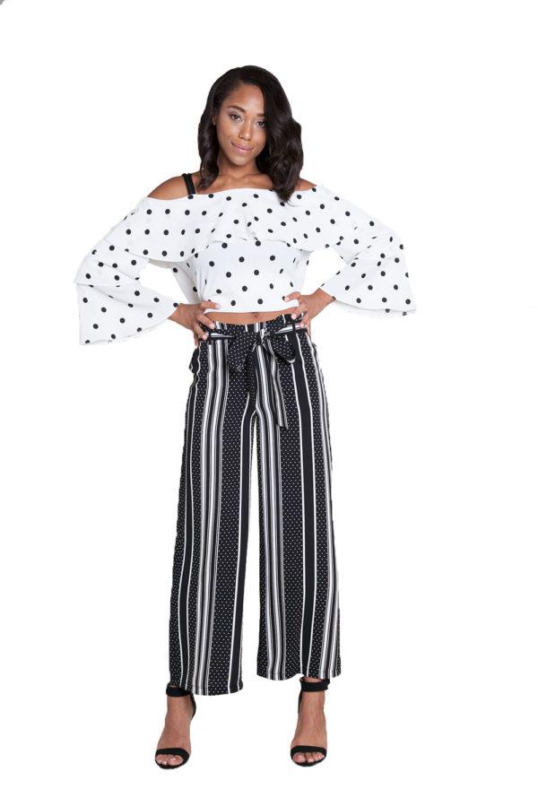 black printed wide leg pants- front