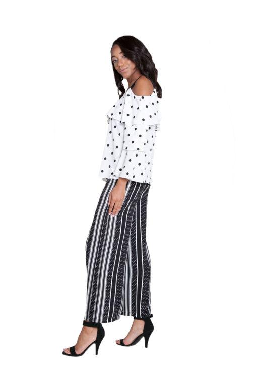 black printed wide leg pants- side