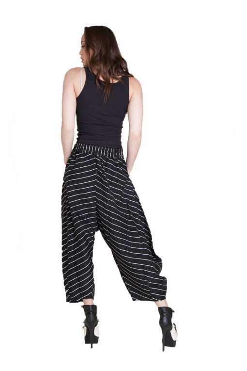 black and white striped pants- back