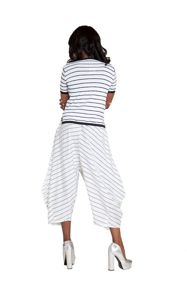white and black striped pants- back