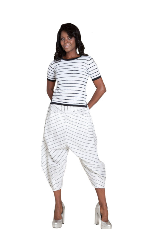 white and black striped pants- front