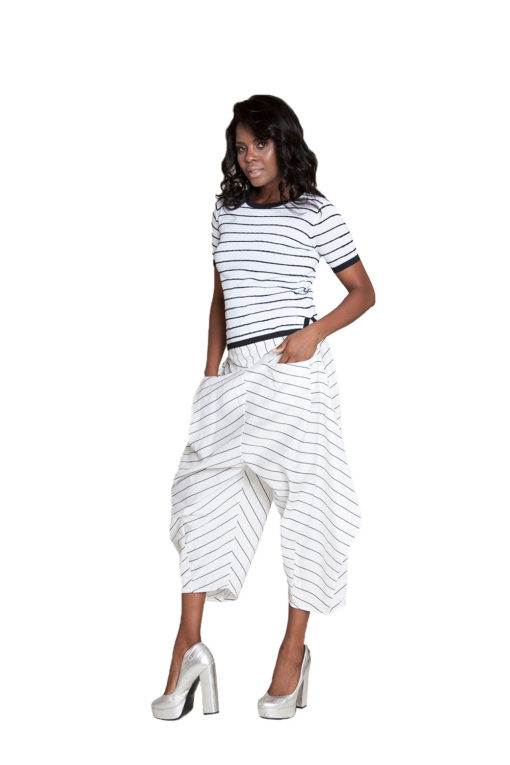 white and black striped pants- side