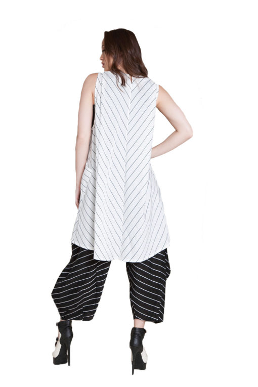 white and black striped vest- back