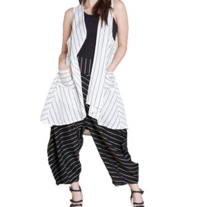 white and black striped vest- front