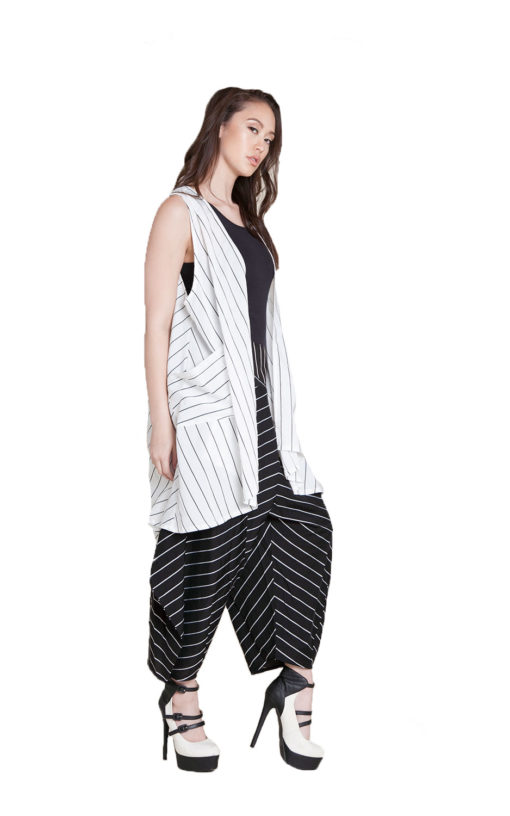 white and black striped vest- side