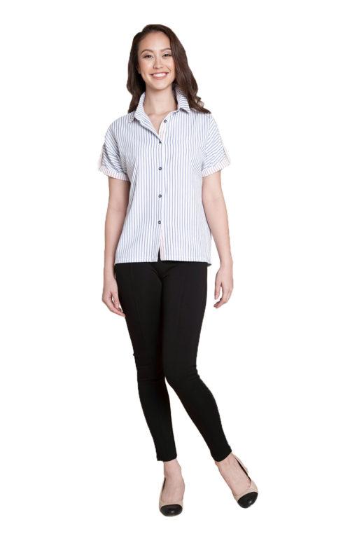 blue stripe blouse- front