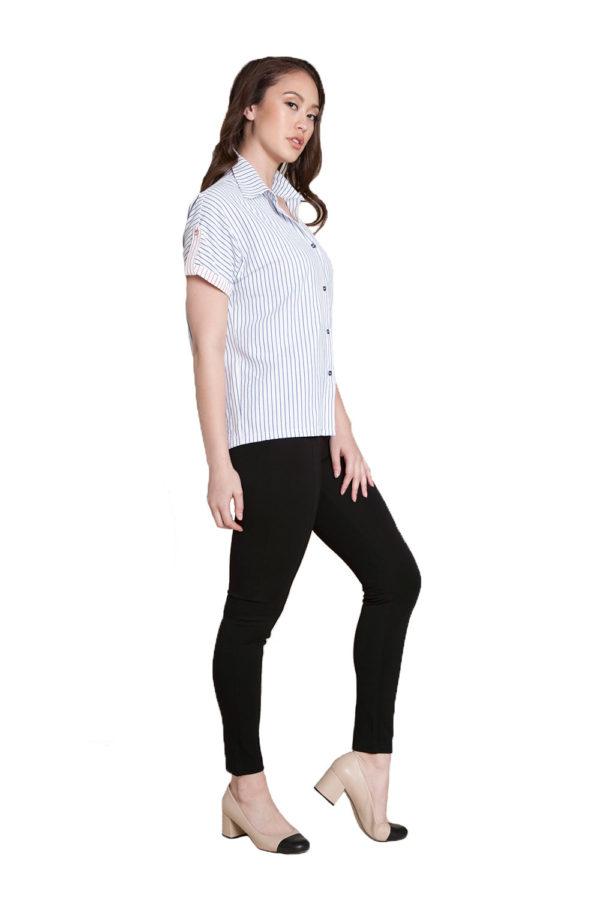 blue stripe blouse- side