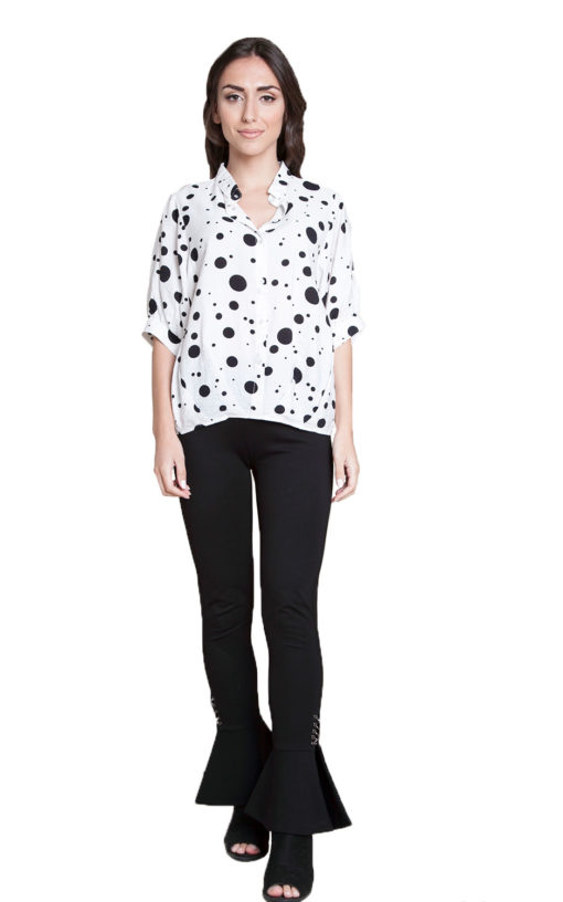 white and black polkadot blouse- front