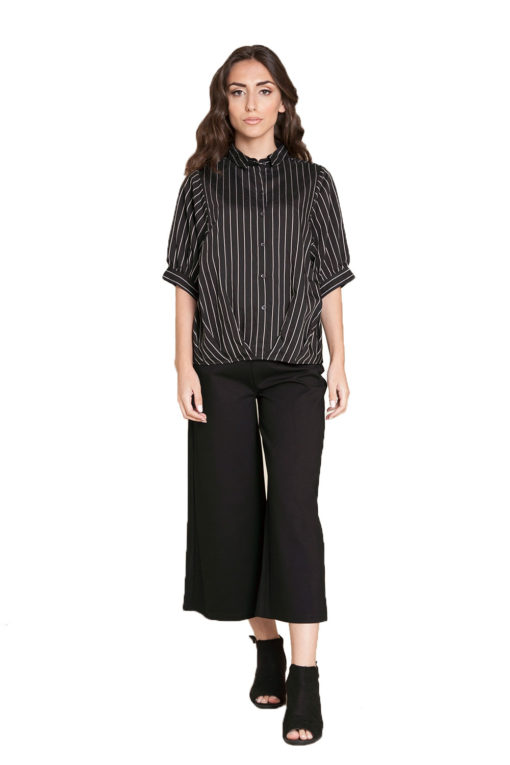 black striped blouse- front