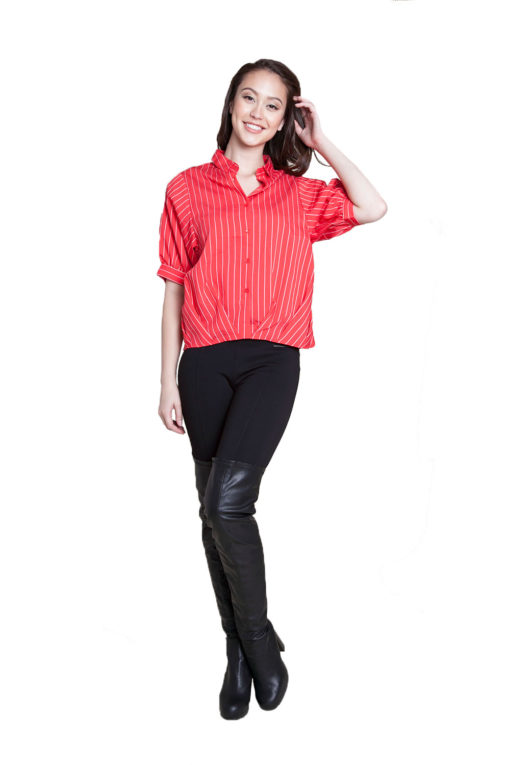 red striped blouse- front