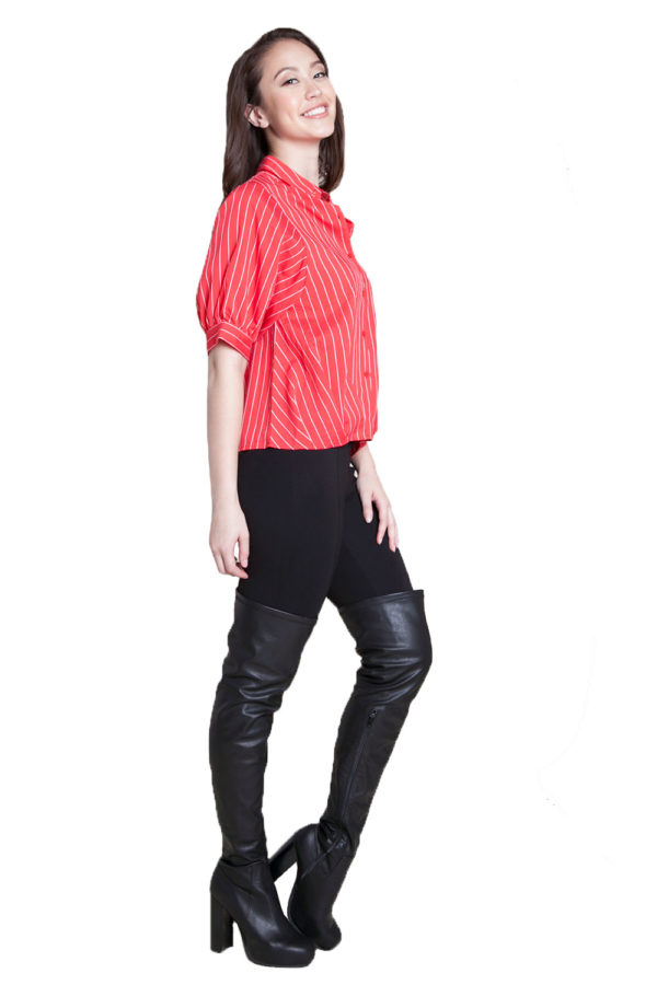 red striped blouse- side