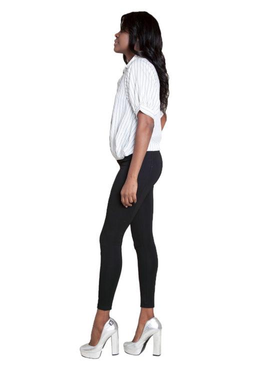 white striped blouse- side