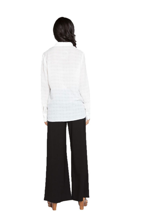 off white front pleat blouse- back