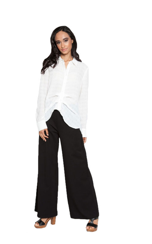off white front pleat blouse- front