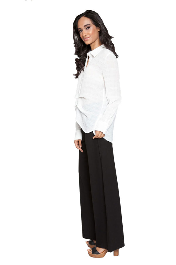 off white front pleat blouse- side