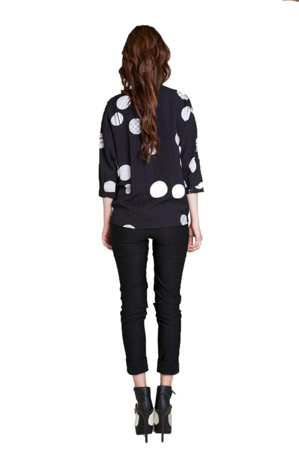 black and white polka dot blouse- back