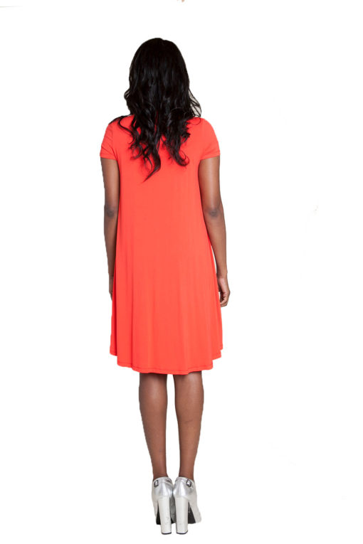 coral t-shirt dress- back