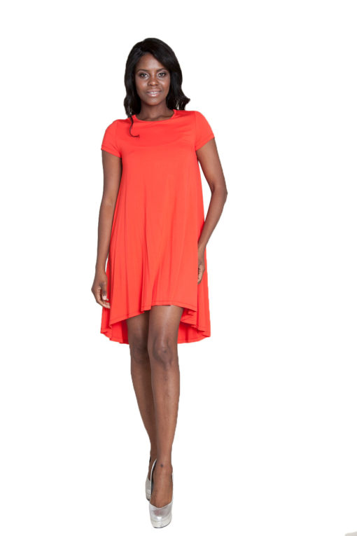 coral t-shirt dress- front