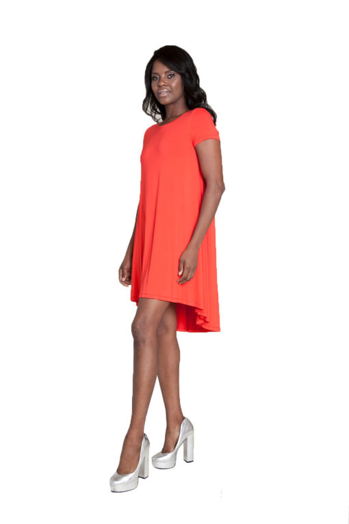 coral t-shirt dress- side