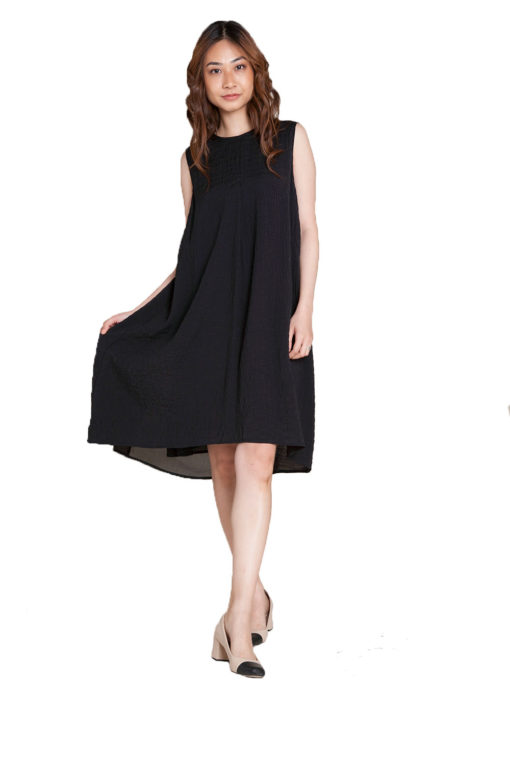 black chiffon back dress- front