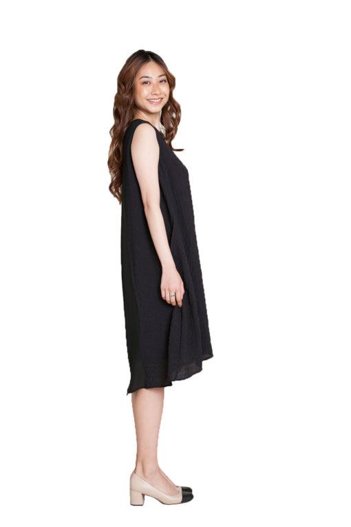 black chiffon back dress- side