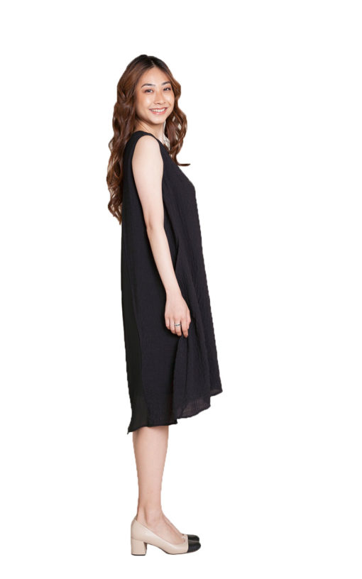 black chiffon back dress- side