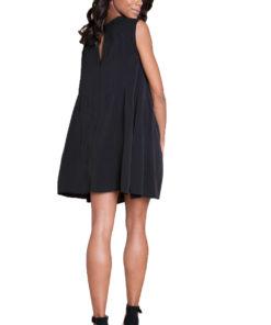 black sleeveless mini dress- back