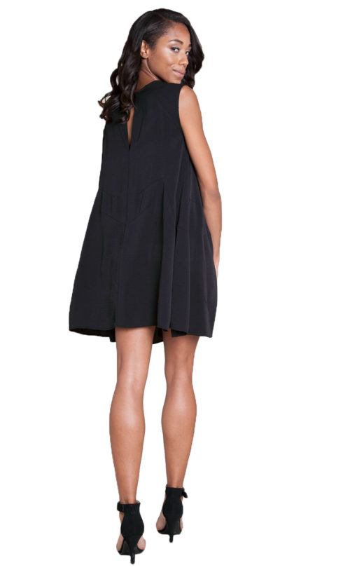 black sleeveless mini dress- back