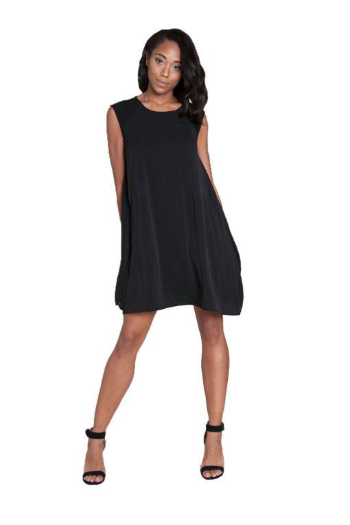 black sleeveless mini dress- front