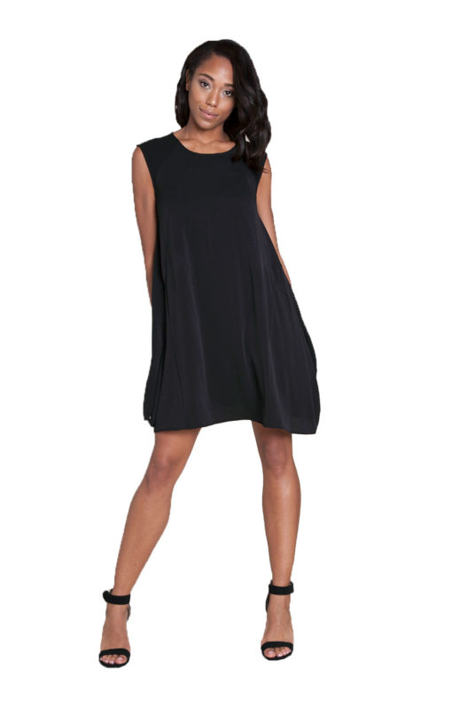 black sleeveless mini dress- front