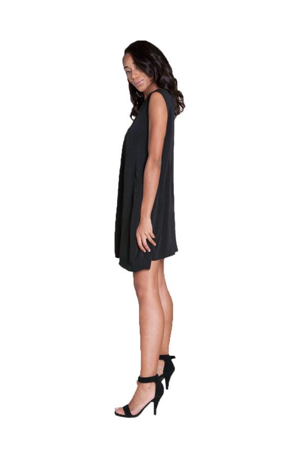 black sleeveless mini dress- side