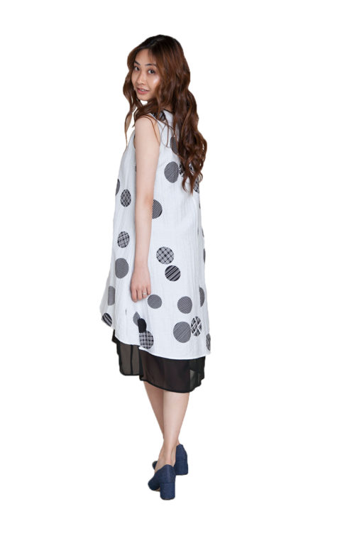 white polkadot dress- back