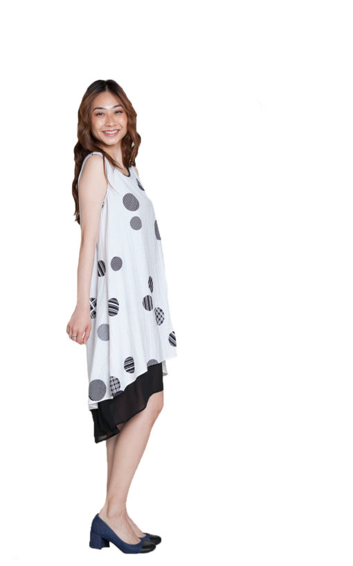 white polkadot dress- side