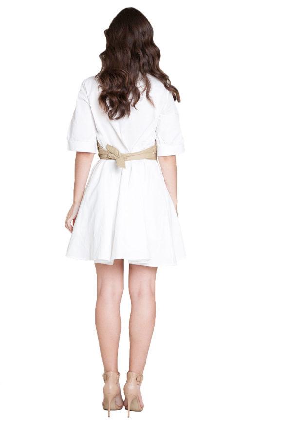white and khaki wrap dress- back