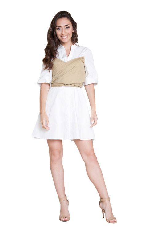 white and khaki wrap dress- front