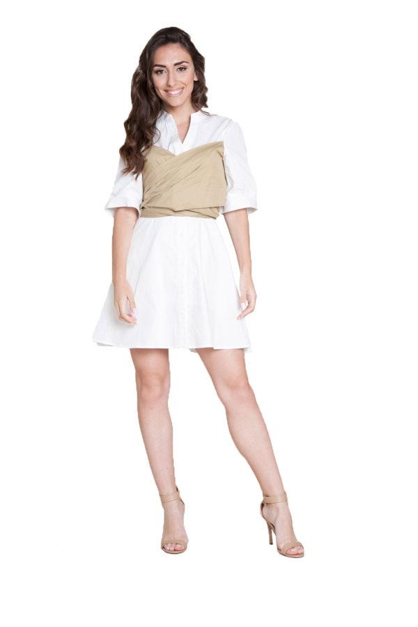 white and khaki wrap dress- front
