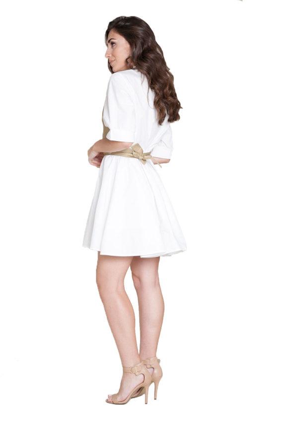 white and khaki wrap dress- side
