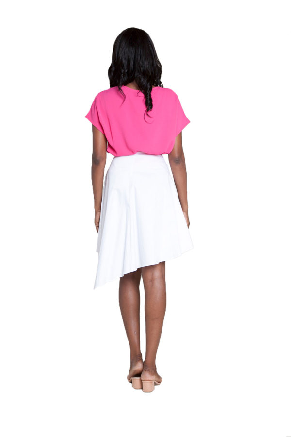 white asymmetrical skirt- back