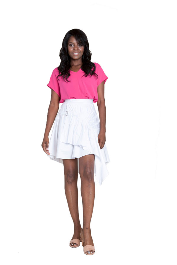 white asymmetrical skirt- front