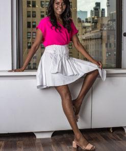 white asymmetrical skirt- front