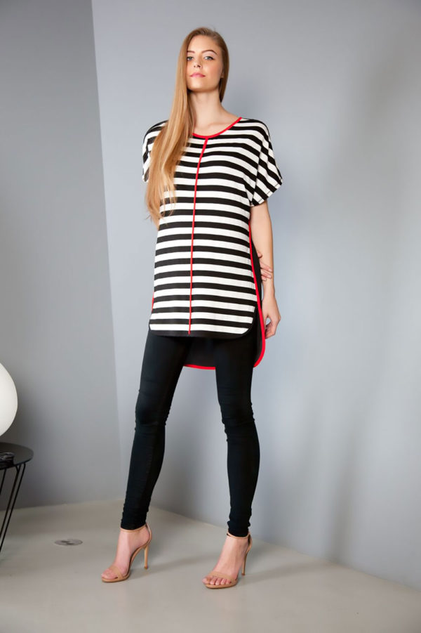 striped tunic top- front