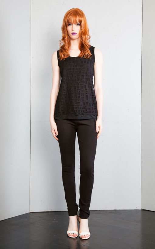 black textured top- front